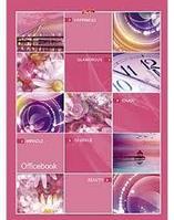Бизнес-блокнот Hatber, 120 листов, А4, клетка, 5 цветн.блоков, твёрдый переплёт, сер.Розовая мозаика