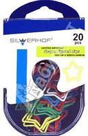 Скрепки фигурные ЗВЕЗДА, 20шт., металл в пластиковой оплетке, цв. белый/синий/красный/желтый/