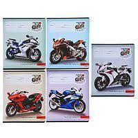 Тетрадь 18 л. клетка новейшие мотоциклы цвет.мелов.обл..5 дизайнов в спайке Проф-Пресс