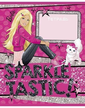 Тетрадь 24л А5ф клетка на скобе блёстки серия -БАРБИ- (Barbie)