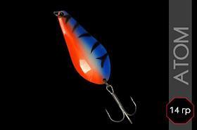 Блесна Атом колеблющаяся, корейский тройник, 3D окраска, 67 мм