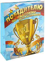 """Пакет подарочный Дарите Счастье """"Победителю"""", 6 х 12 х 15 см. 643055, цвет голубой, золотой"""