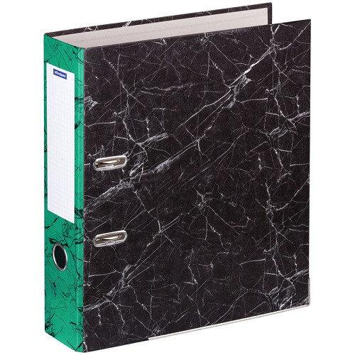 Папка-регистратор OfficeSpace 70мм, мрамор, черная, зеленый корешок, нижний метал. кант