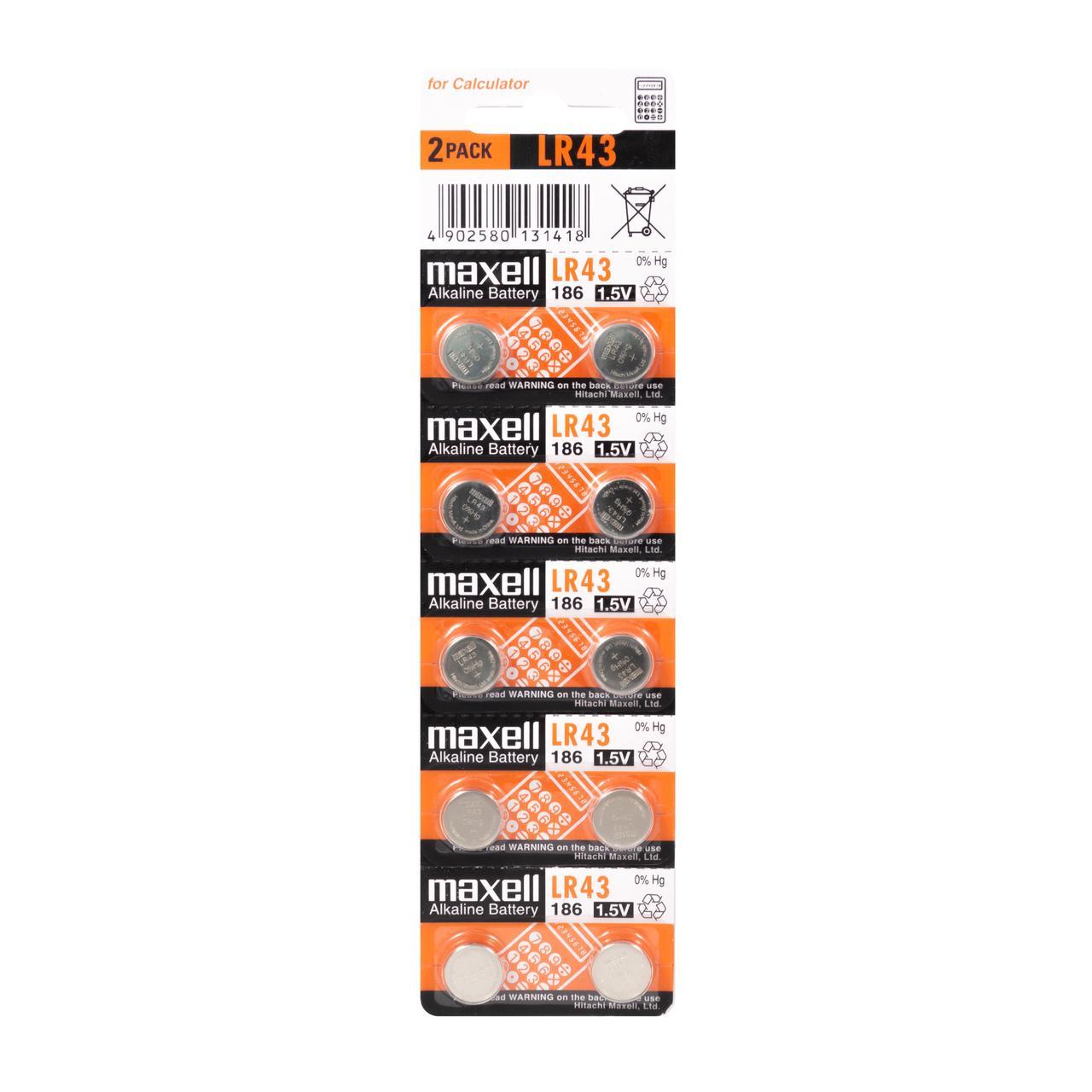 Батарейки таблетки  Maxell LR43