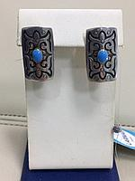 Серьги национальные с голубой эмалью / серебро