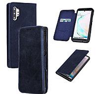 Чехол для смартфона кошелек визитница на магните для Note 10 Plus PULOKA темно синий