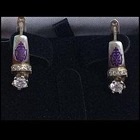 Серьги национальные с фиолетовой эмалью / серебро