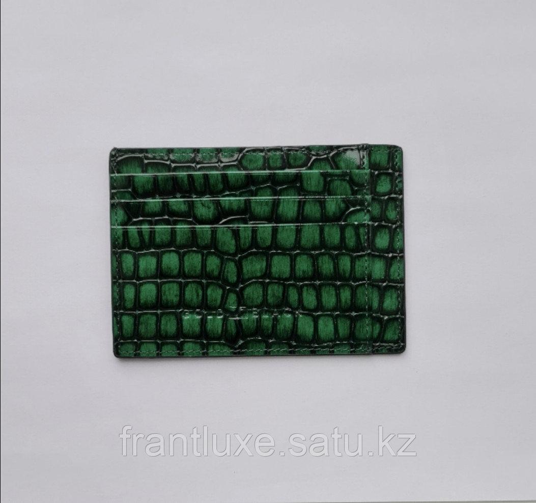 Кожаный картхолдер зелёного цвета - фото 1
