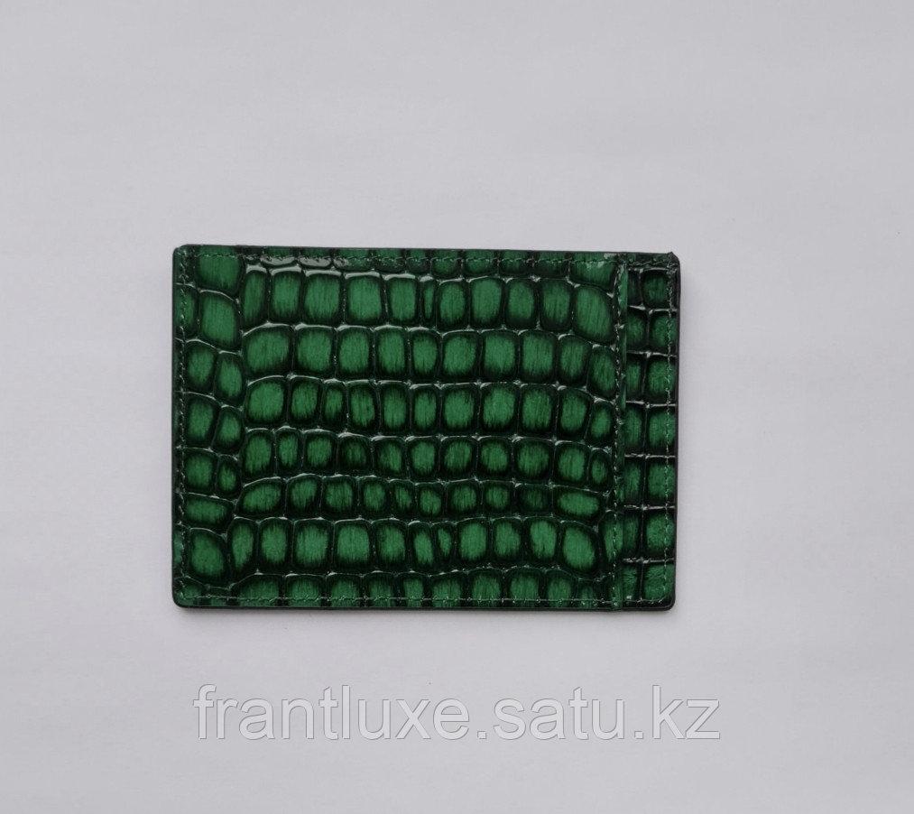 Кожаный картхолдер зелёного цвета - фото 2