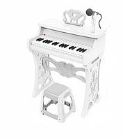 Детское пианино со стульчиком и микрофоном 328 белый