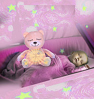 Детский ночник на батарейках со звуковыми и музыкальными эффектами 2 в 1 медвежонок Dream розовый