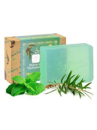 Sangam мыло мята и чайное дерево 100,0 мягко  очищает, не сушит кожу