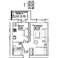 1 комнатная квартира в ЖК Мадрид 36.68 м², фото 1