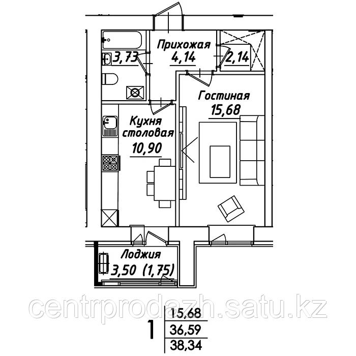 1 комнатная квартира в ЖК Мадрид 38.34 м²
