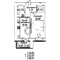 1 комнатная квартира в ЖК Мадрид 38.34 м², фото 1