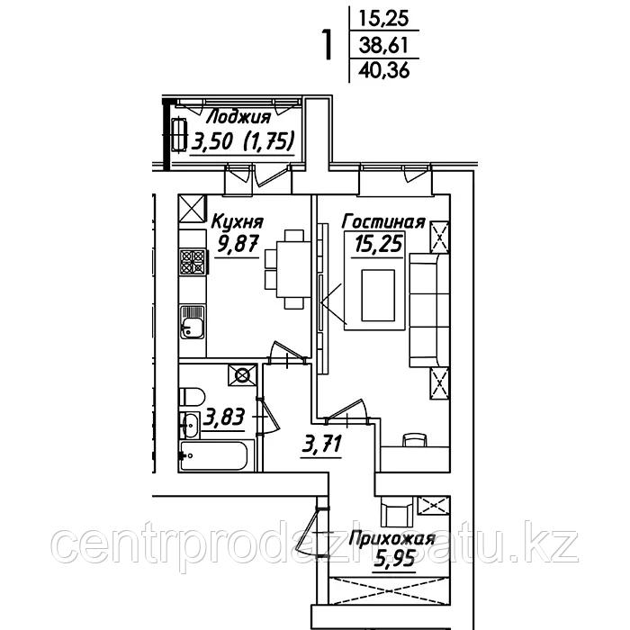 1 комнатная квартира в ЖК Мадрид 40.36 м²