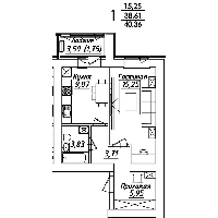 1 комнатная квартира в ЖК Мадрид 40.36 м², фото 1