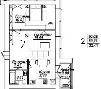 2 комнатная квартира в ЖК Мадрид 52.41 м², фото 1