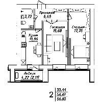 2 комнатная квартира в ЖК Мадрид 56.60 м²