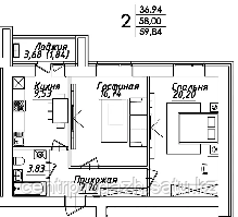 2 комнатная квартира в ЖК Мадрид 59.84 м²