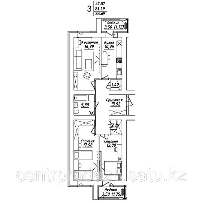 3 комнатная квартира в ЖК Мадрид 84.69 м²