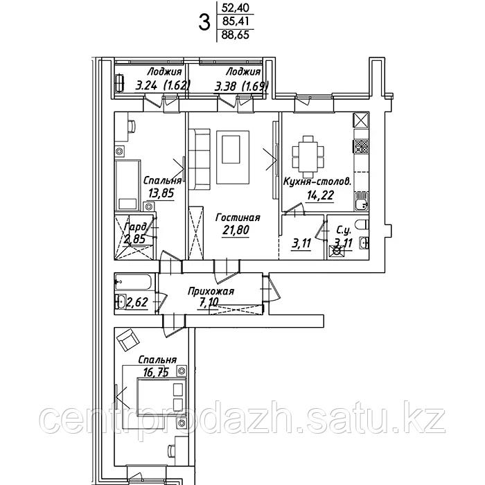 3 комнатная квартира в ЖК Мадрид 88.65 м²