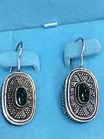 Серьги национальные с зелёной эмалью / серебро