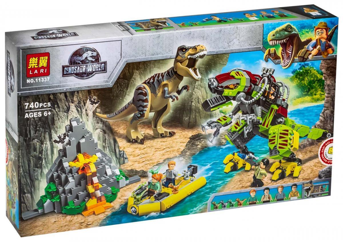 Lari Dinosaur World 11337 Конструктор Бой тираннозавра и робота-динозавра (Аналог LEGO 75938)