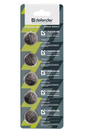 Элемент питания Defender CR2025 - 5 штук в блистере
