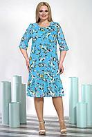 Женское осеннее шифоновое голубое большого размера платье Alani Collection 1347.2 54р.