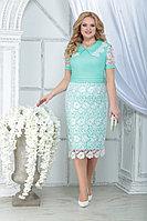 Женское осеннее кружевное зеленое нарядное большого размера платье Ninele 7317 светло-зеленый_белый 52р.