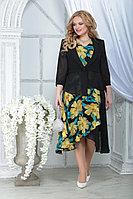 Женский осенний шифоновый большого размера комплект с платьем Ninele 2286 желтые_ромашки_черный 52р.