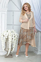 Женский осенний шифоновый большого размера комплект с платьем Ninele 2286 леопард_пудра 52р.