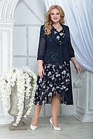 Женский осенний шифоновый большого размера комплект с платьем Ninele 2286 синий_ирисы 52р.