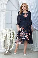 Женский осенний шифоновый большого размера комплект с платьем Ninele 2286 синий_цветы 52р.