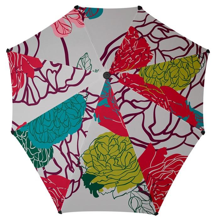 Зонт-трость, диаметр 90 см, принт цветочный