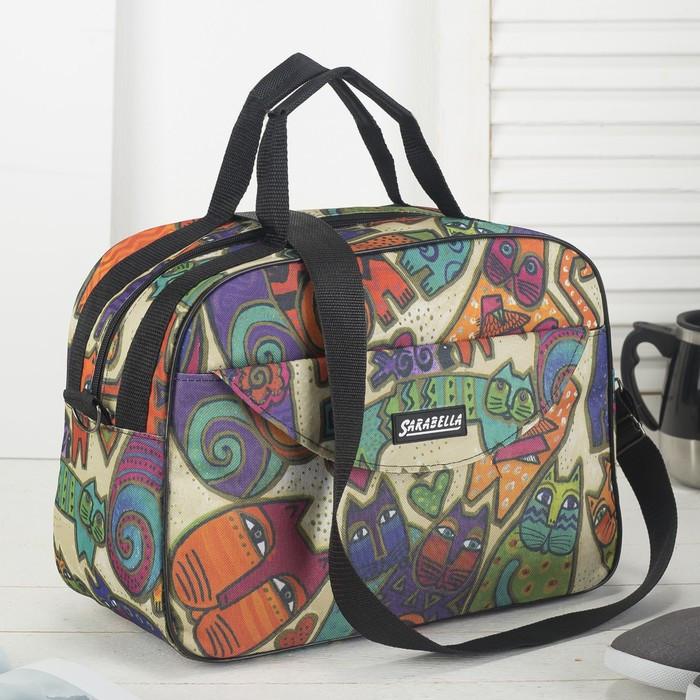 Сумка дорожная «Кошки», отдел на молнии, наружный карман, цвет разноцветный