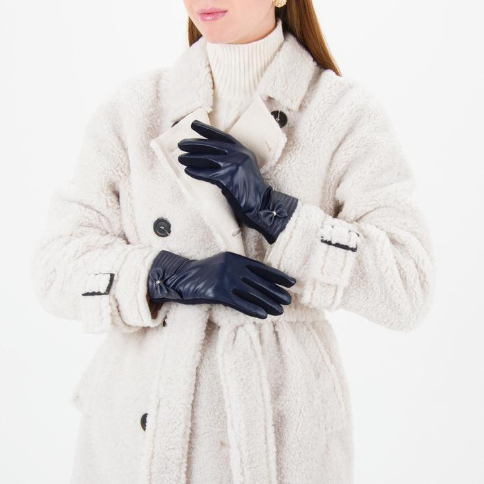 Перчатки женские безразмерные, комбинированные, с утеплителем, для сенсорных экранов, цвет синий