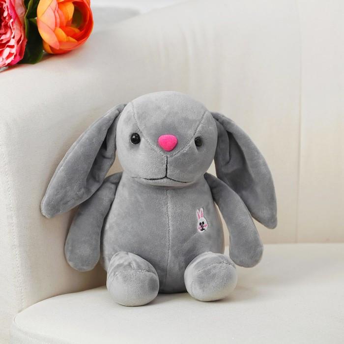 Мягкая игрушка «Зайка с вышивкой», с присоской, цвет серый