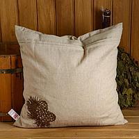 """Подушка из стружки кедра """"Шишка"""", натуральный лен, 50х50 см"""