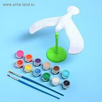 Набор для творчества «Раскрась сокола», краска 12 цветов, кисть, подставка