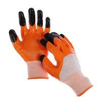Перчатки нейлоновые, с тройным нитриловым обливом, размер 9, цвет МИКС