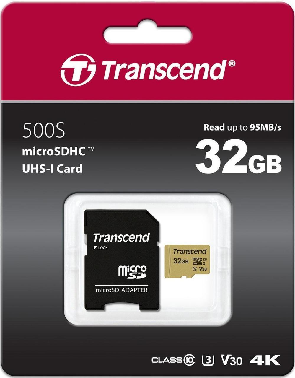Карта памяти MicroSD 32GB Class 10 U3 Transcend TS32GUSD500S
