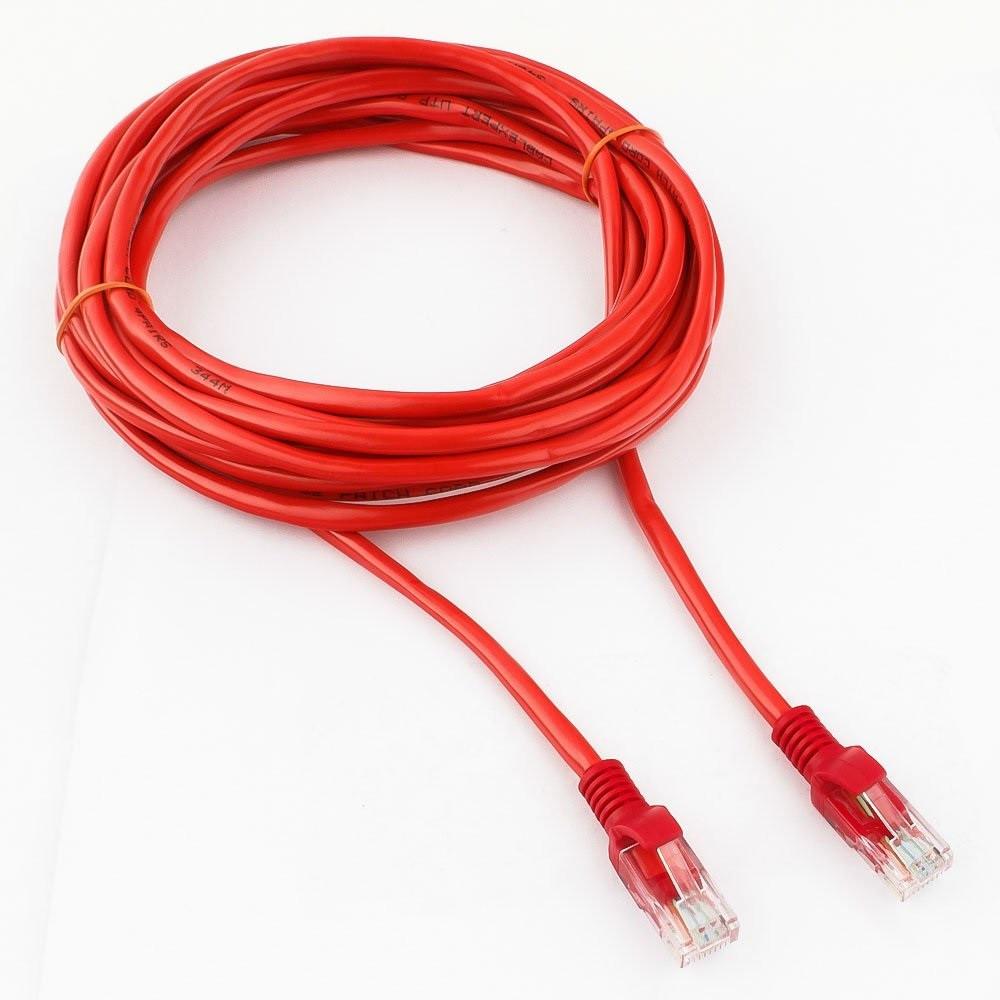 Патч-корд UTP Cablexpert PP12-5M/R кат.5e, 5м, литой, многожильный (красный)