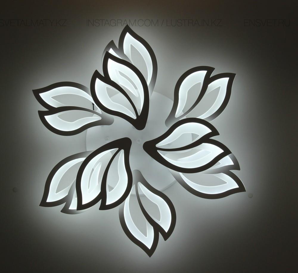 Люстра светодиодная на 9 ламп, на 216W, цвет белый, стиль совеременный