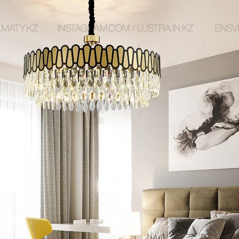 Люстра подвесная, стиль современный, цоколь Е14, цвет золото