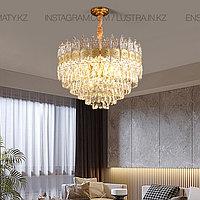 Люстра хрустальная, цвет золото, цоколь Е14, на 21 лампочку, фото 1