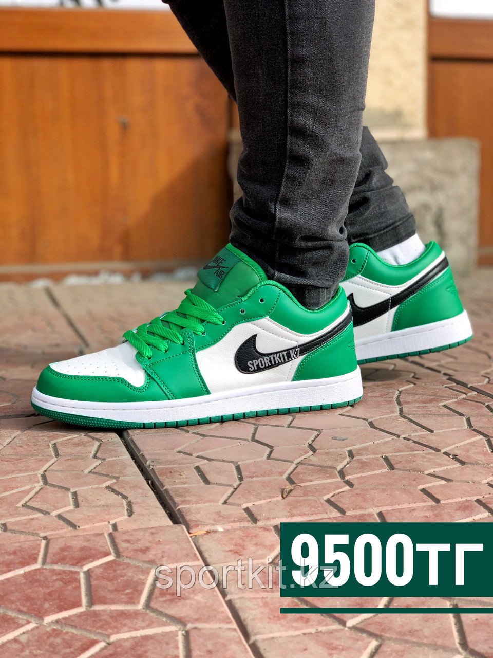 Кеды Nike Jordan низк бело зелёные - фото 4