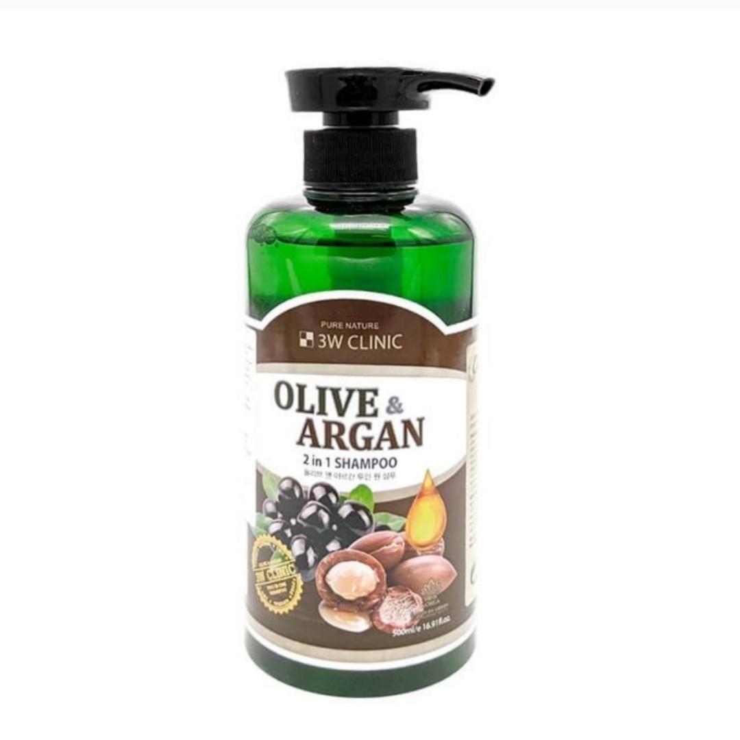 Шампунь для повреждённых волос с маслами аргании и оливы 3W Clinic Olive & Argan 2 in 1 Shampoo