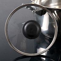 Крышка для сковороды и кастрюли стеклянная, d=16 см, с прикручивающейся пластиковой ручкой